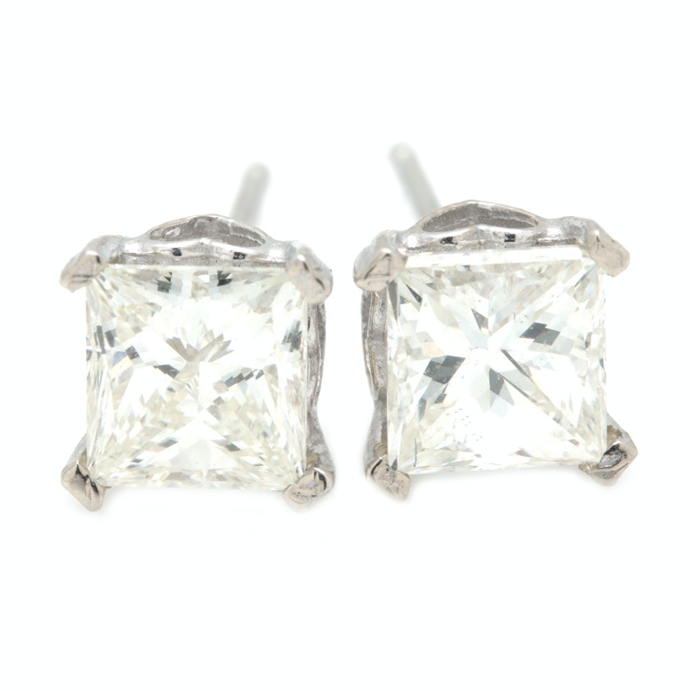 14K White Gold 1.23 CTW Diamond Stud Earrings