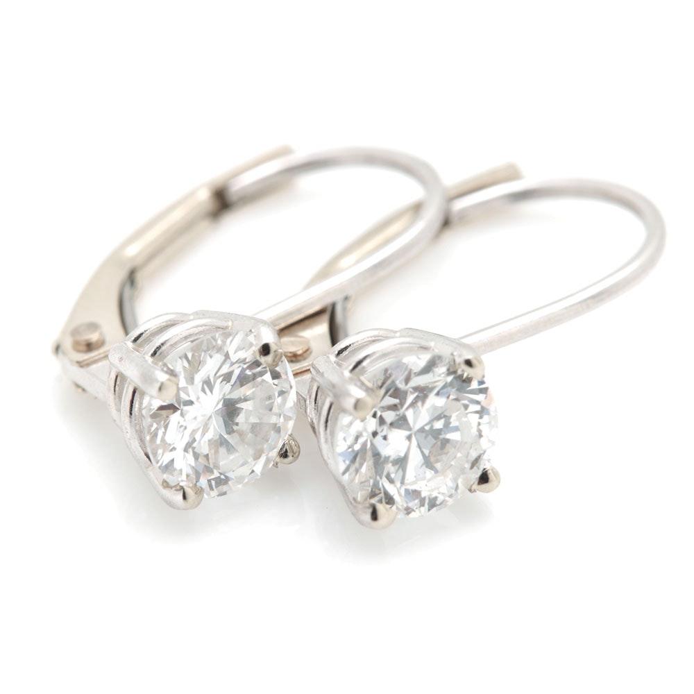 14K White Gold 0.88 CTW Diamond Earrings