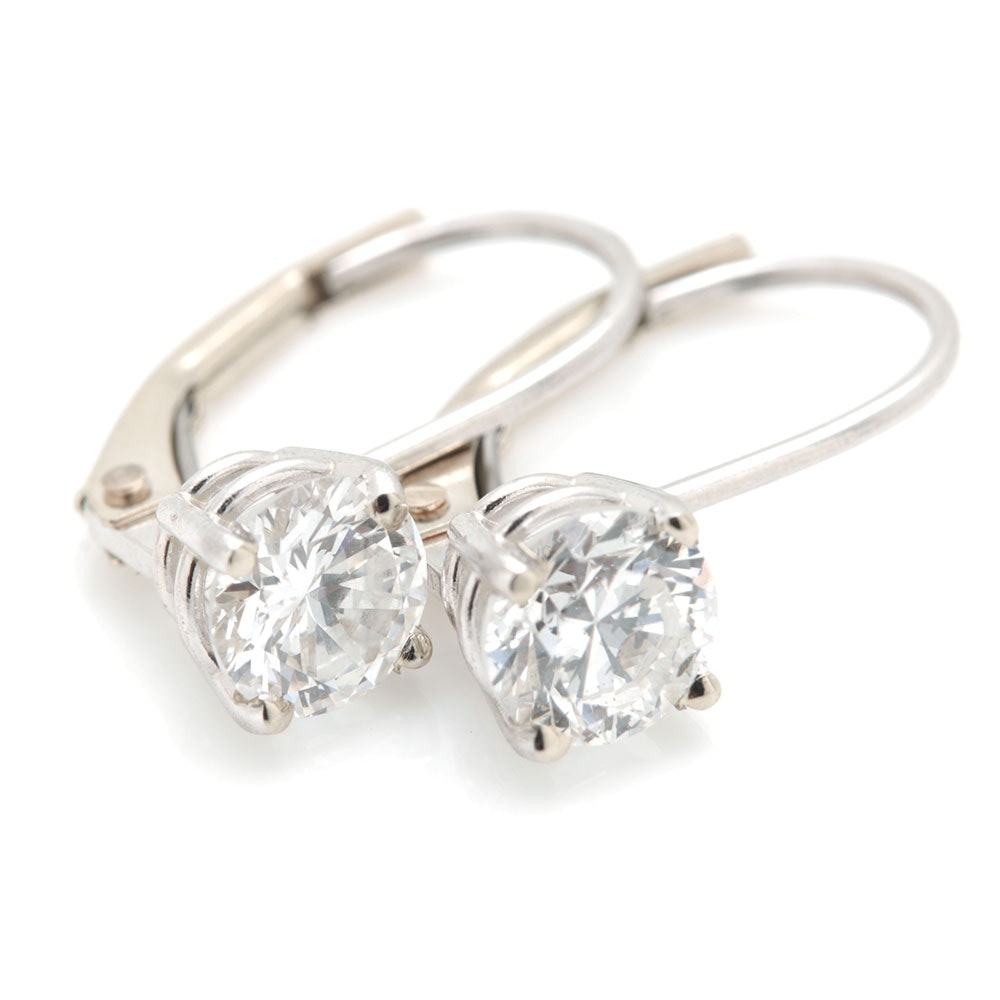 14K White Gold 0.88 CTW Diamond Earrings
