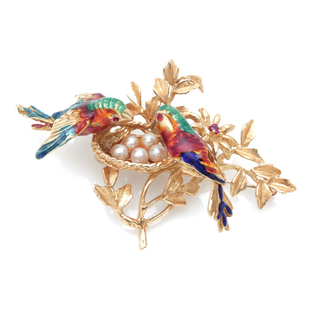 14K and 18K Yellow Gold Bird Brooch