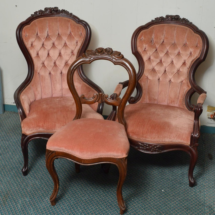 victorian parlor chairs ebth