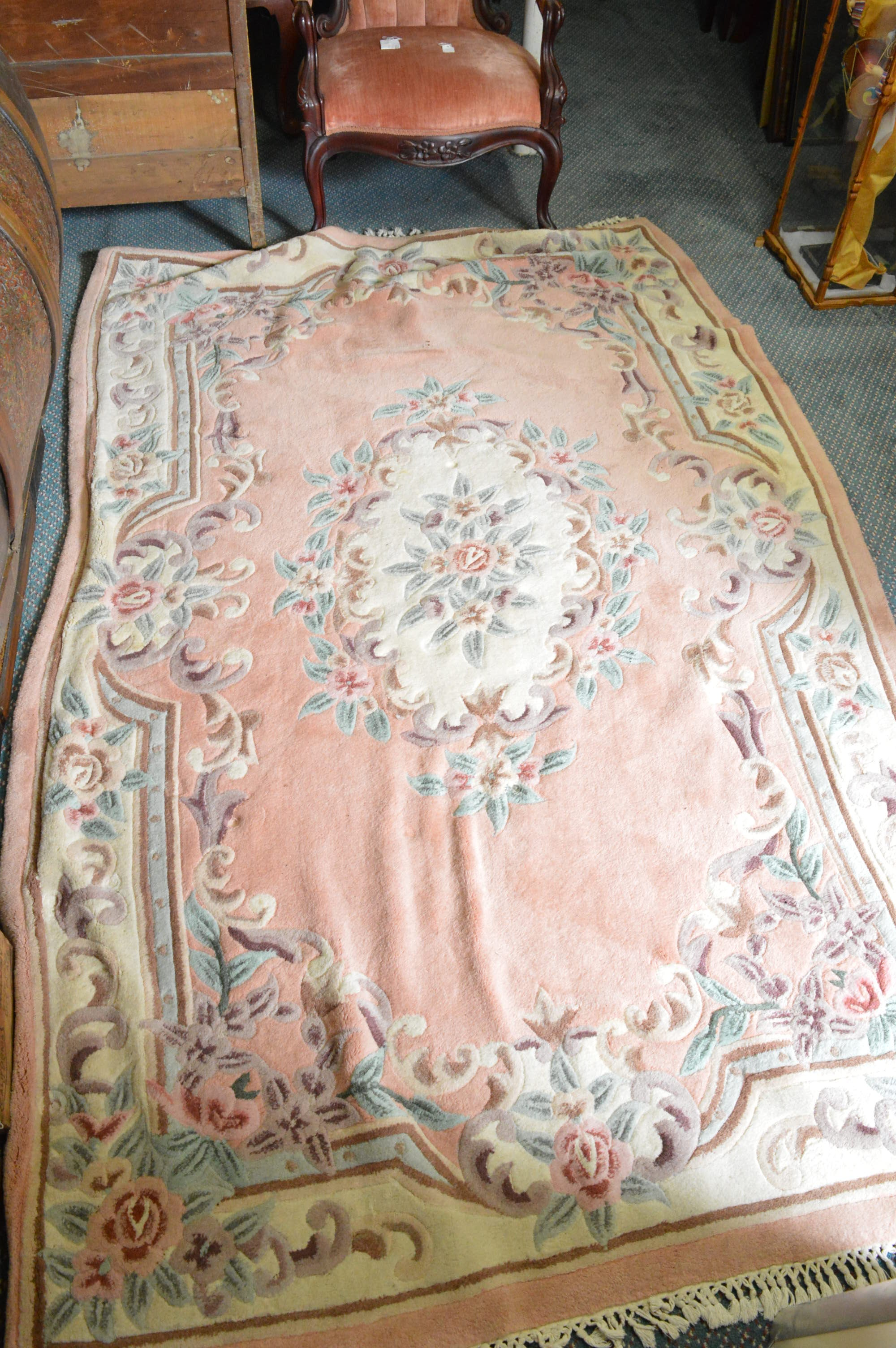 Tufted and Carved Chinese Wool Area Rug