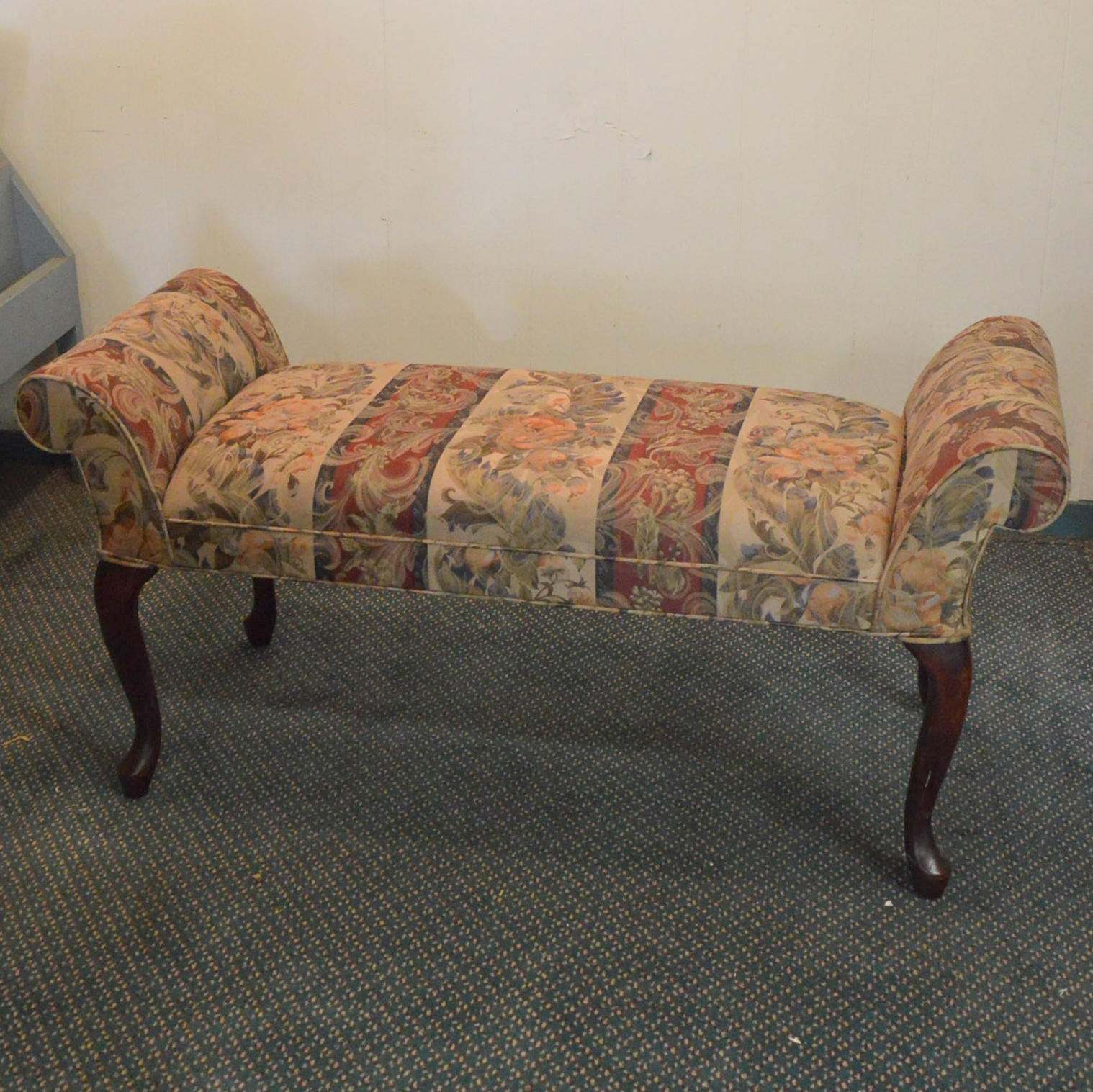 Upholstered Queen Anne Style Bench