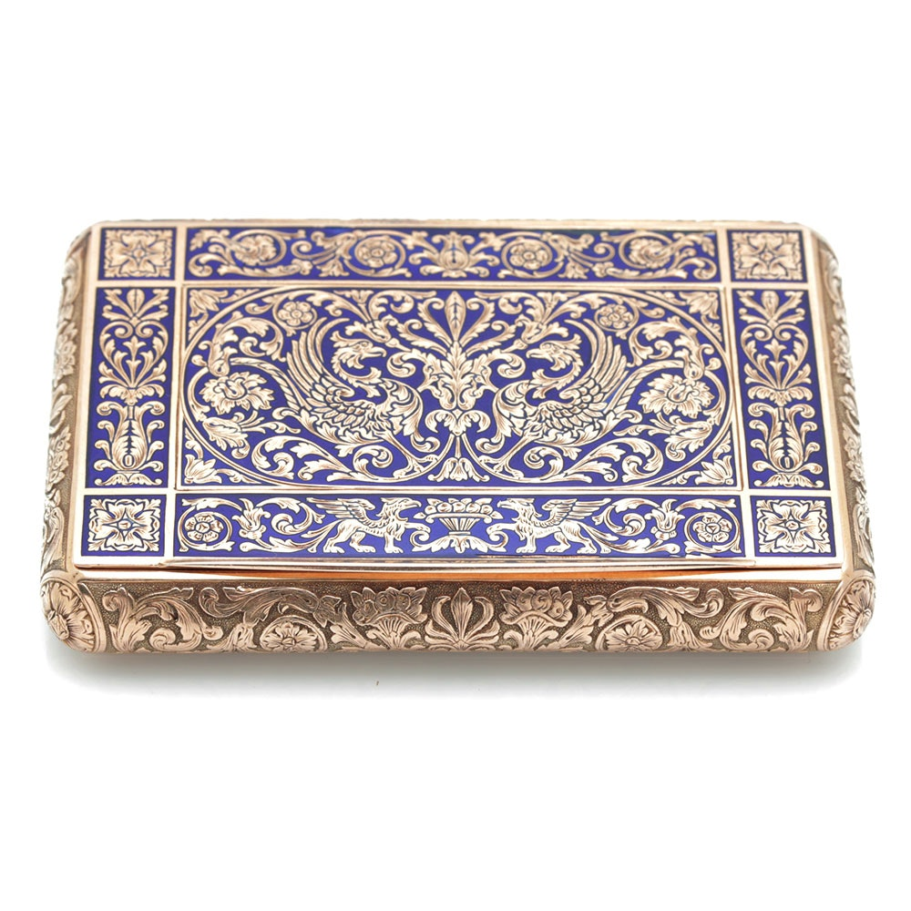 18K Yellow Gold Italian Snuff Box