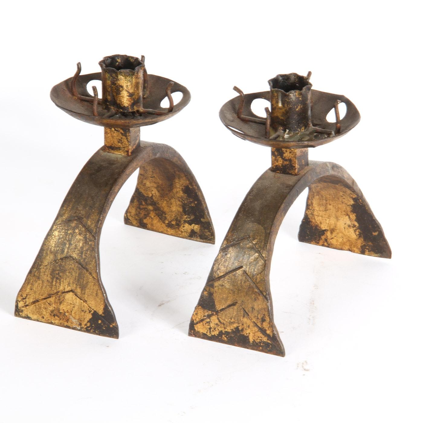 Vintage Bronze Candle Holders