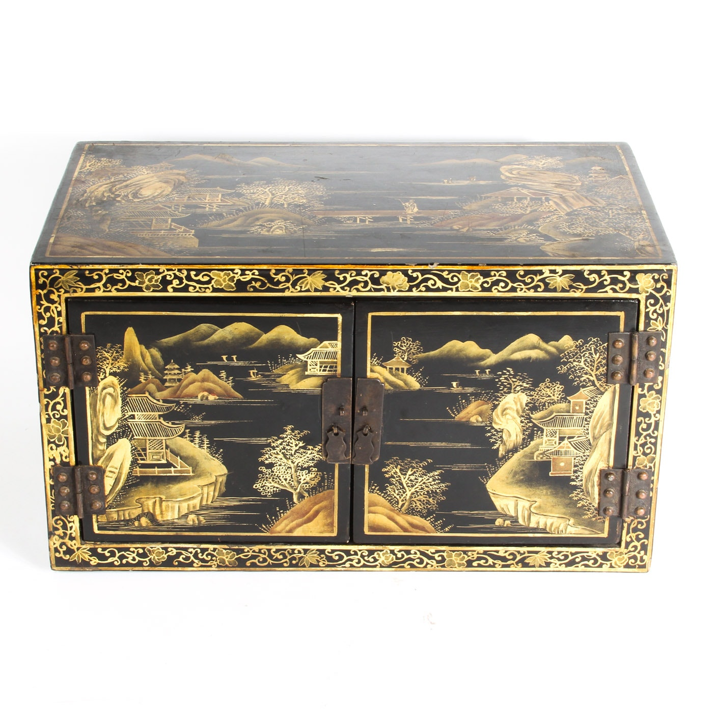 Vintage Black Lacquered Chinoiserie Chest