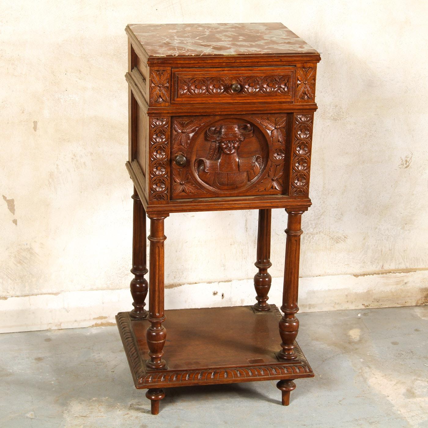 Vintage Henri II Style Walnut Nightstand With Marble Top