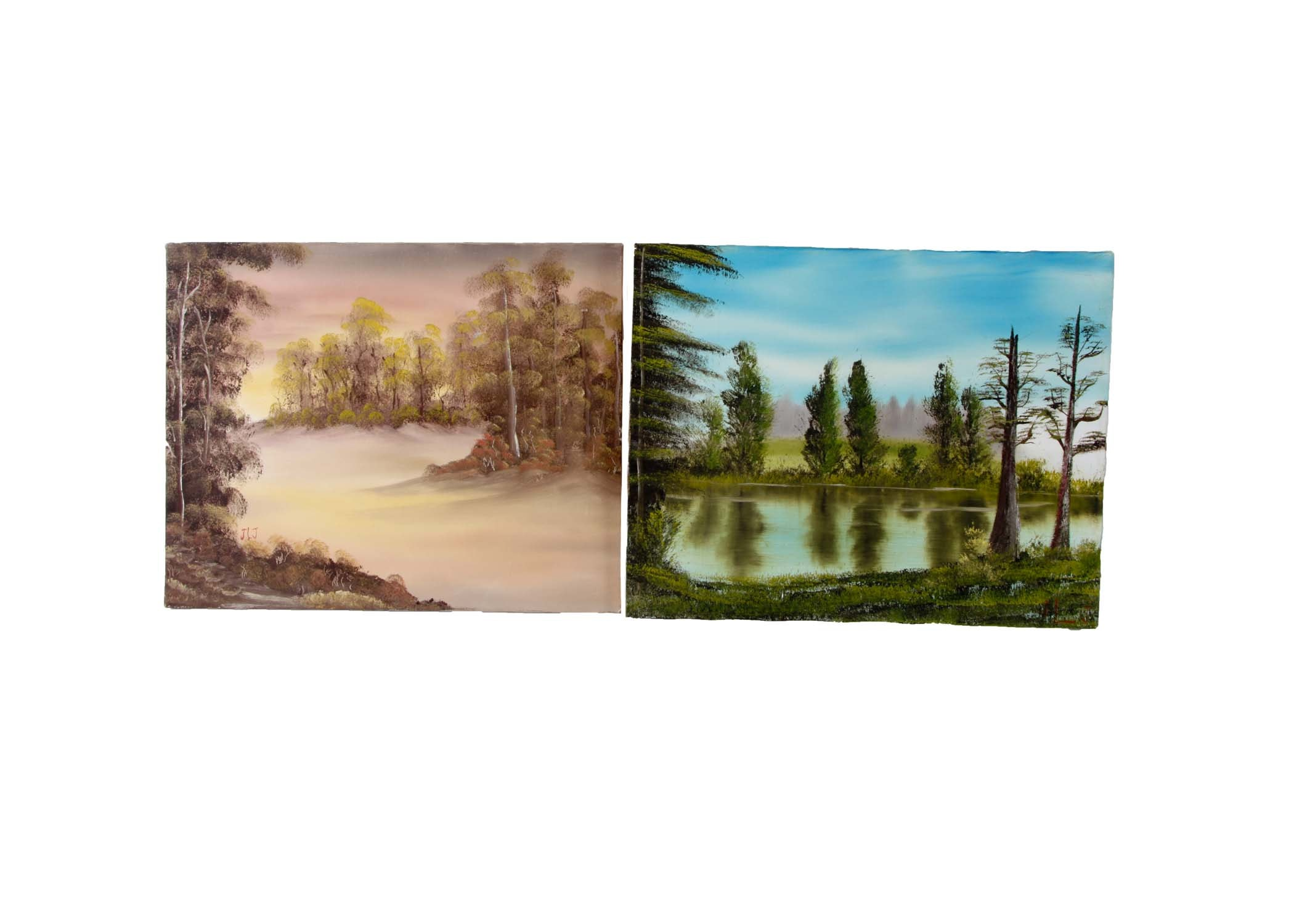 Original Acrylic On Canvas Landscape Paintings signed JLJ