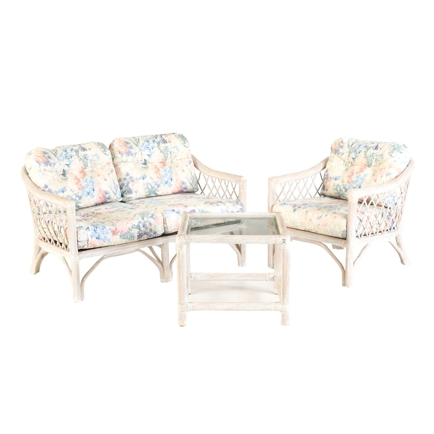 Whitewashed Wicker Furniture Set By Henry Link Ebth