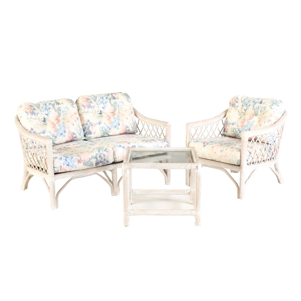 Whitewashed Wicker Furniture Set By Henry Link ...