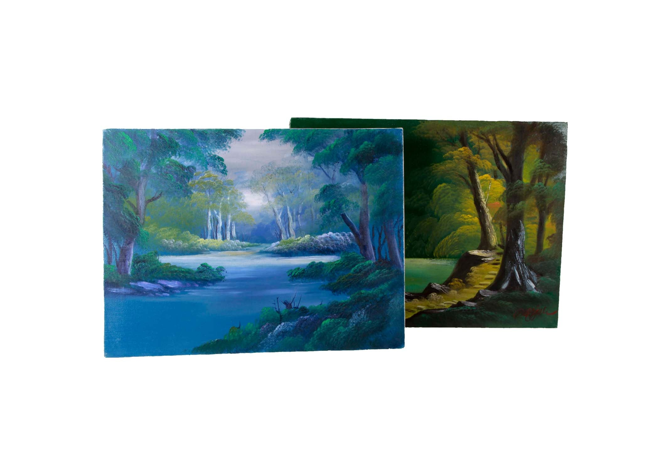 Pair of Landscape Oil Paintings on Canvas