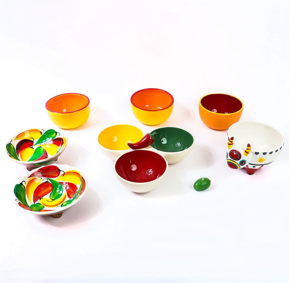 Collection of Colorful Serving Bowls