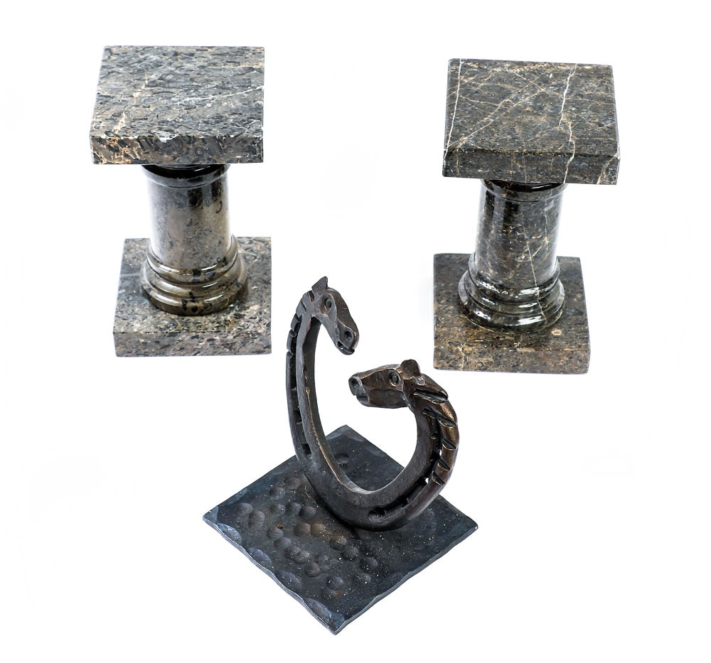 Marble Column Bookends and Cast Metal Horseshoe Sculpture