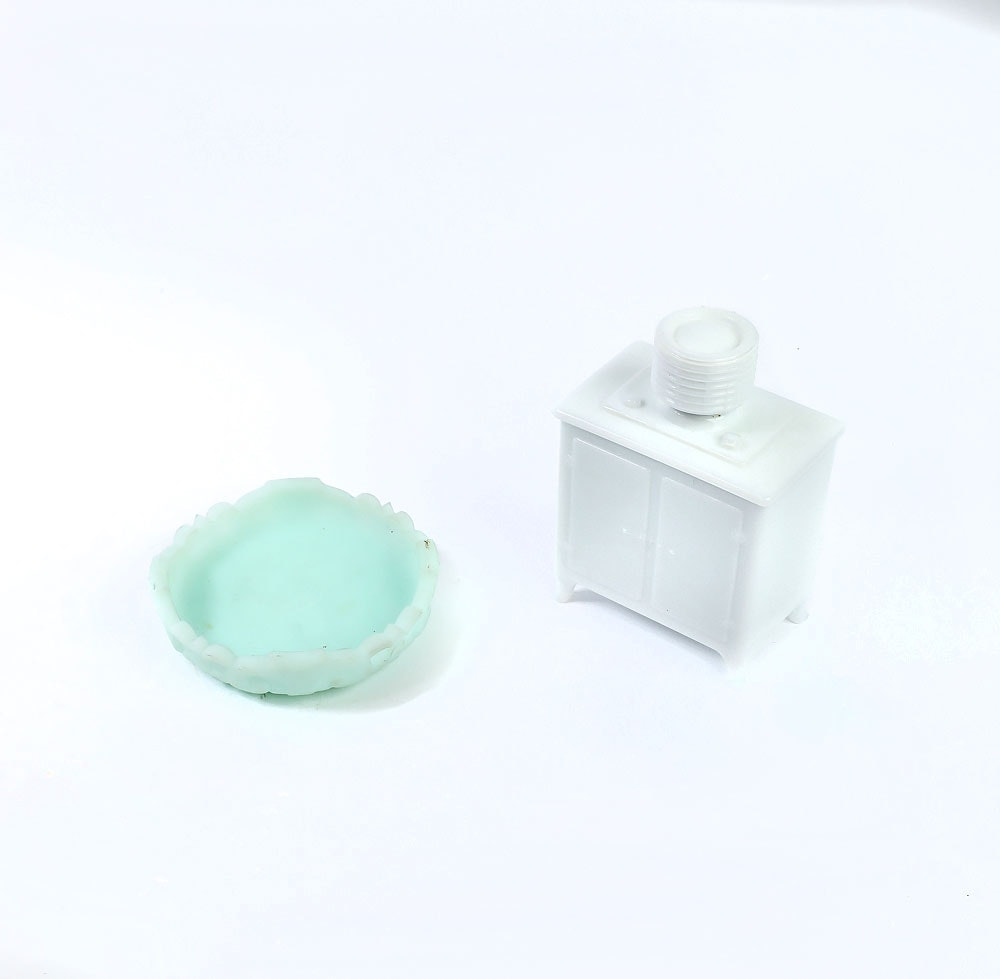 Vintage Milk Glass Miniature Replica Appliance and Sugar Bowl