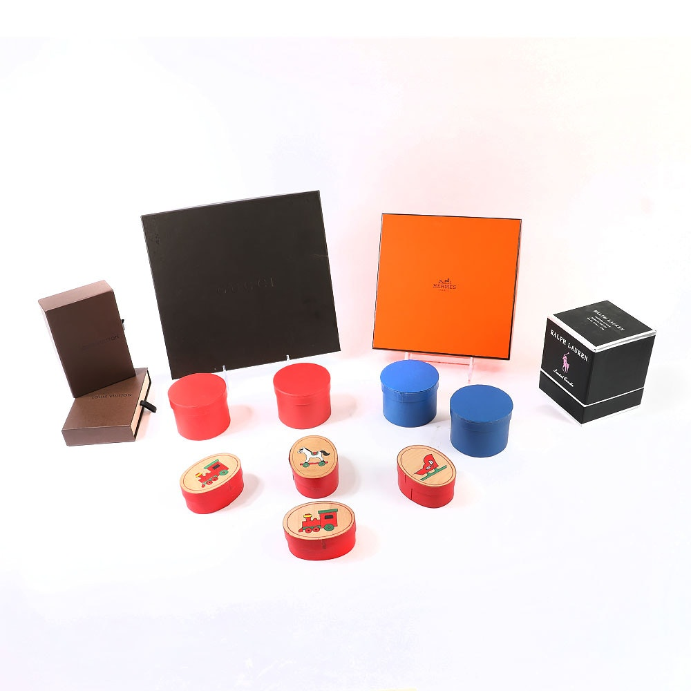 Collection of Assorted Designer Boxes including Hermes, Gucci, Vuitton and Lauren