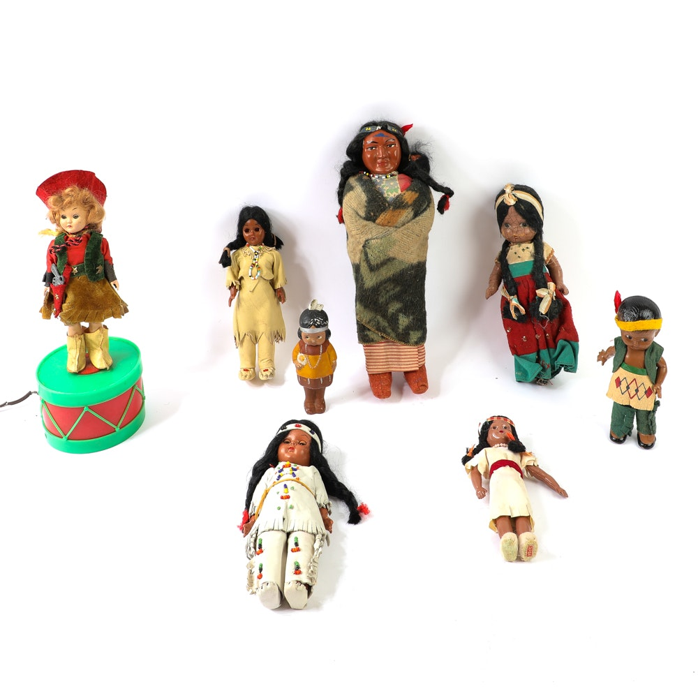 Collection of Vintage Native American Dolls Plus Cowgirl