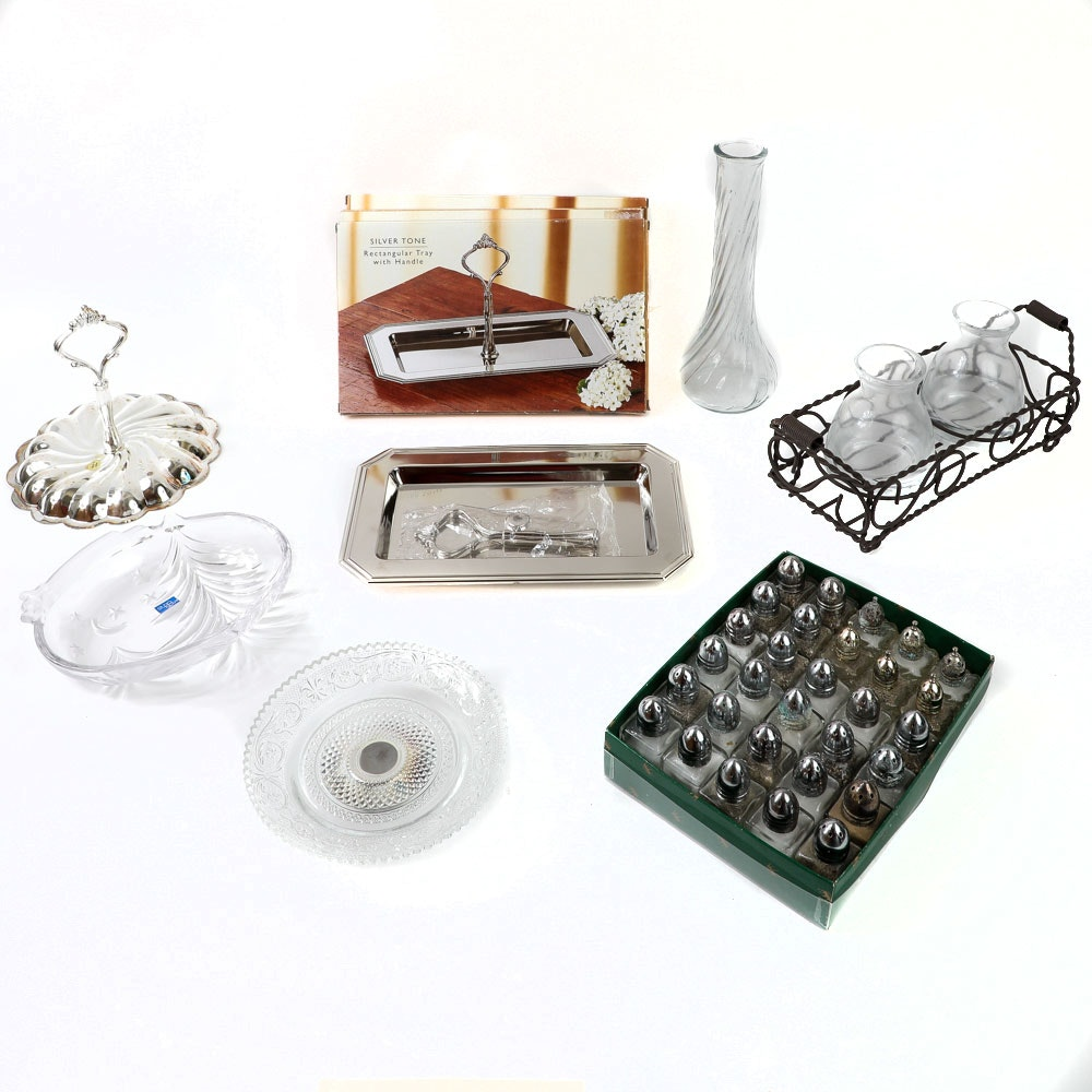 Assortment of Glass and Silver Plated Tableware