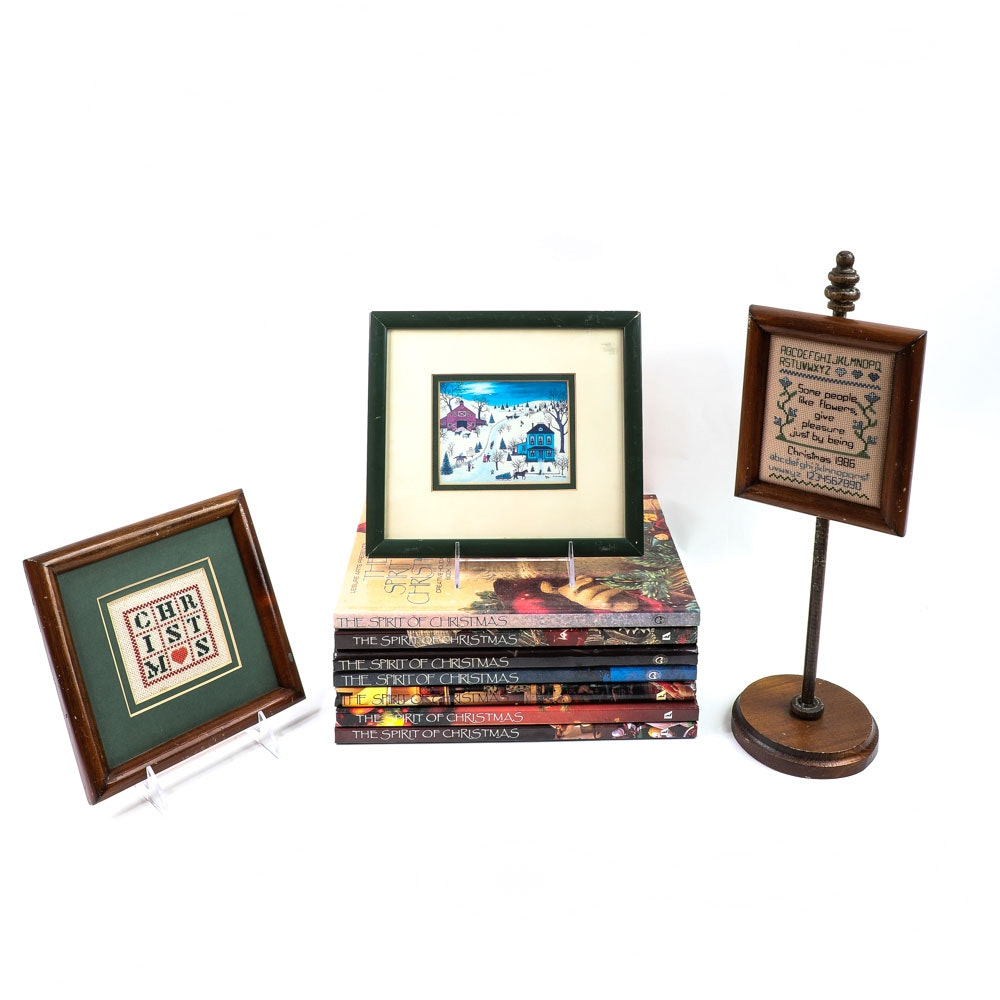 Collection of Vintage Leisure Arts Spirit of Christmas Books & Holiday Decor