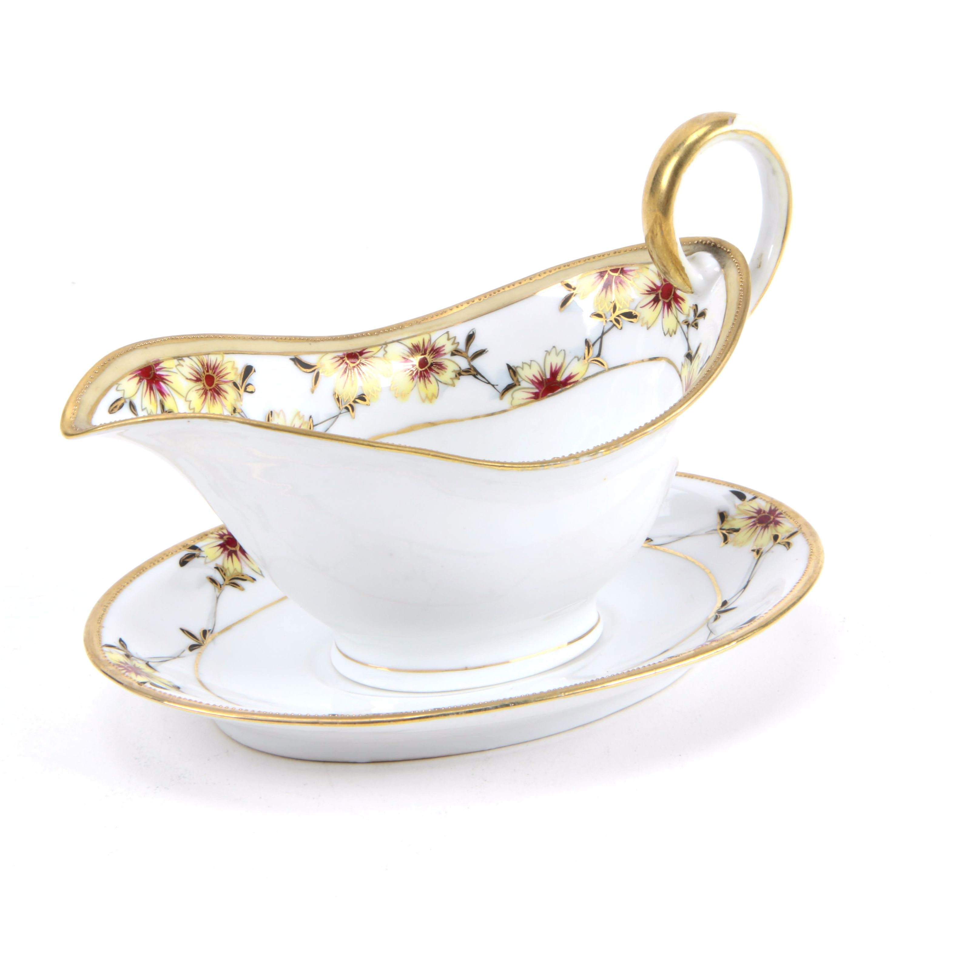 Hand-Painted Nippon Gravy Boat and Under Plate