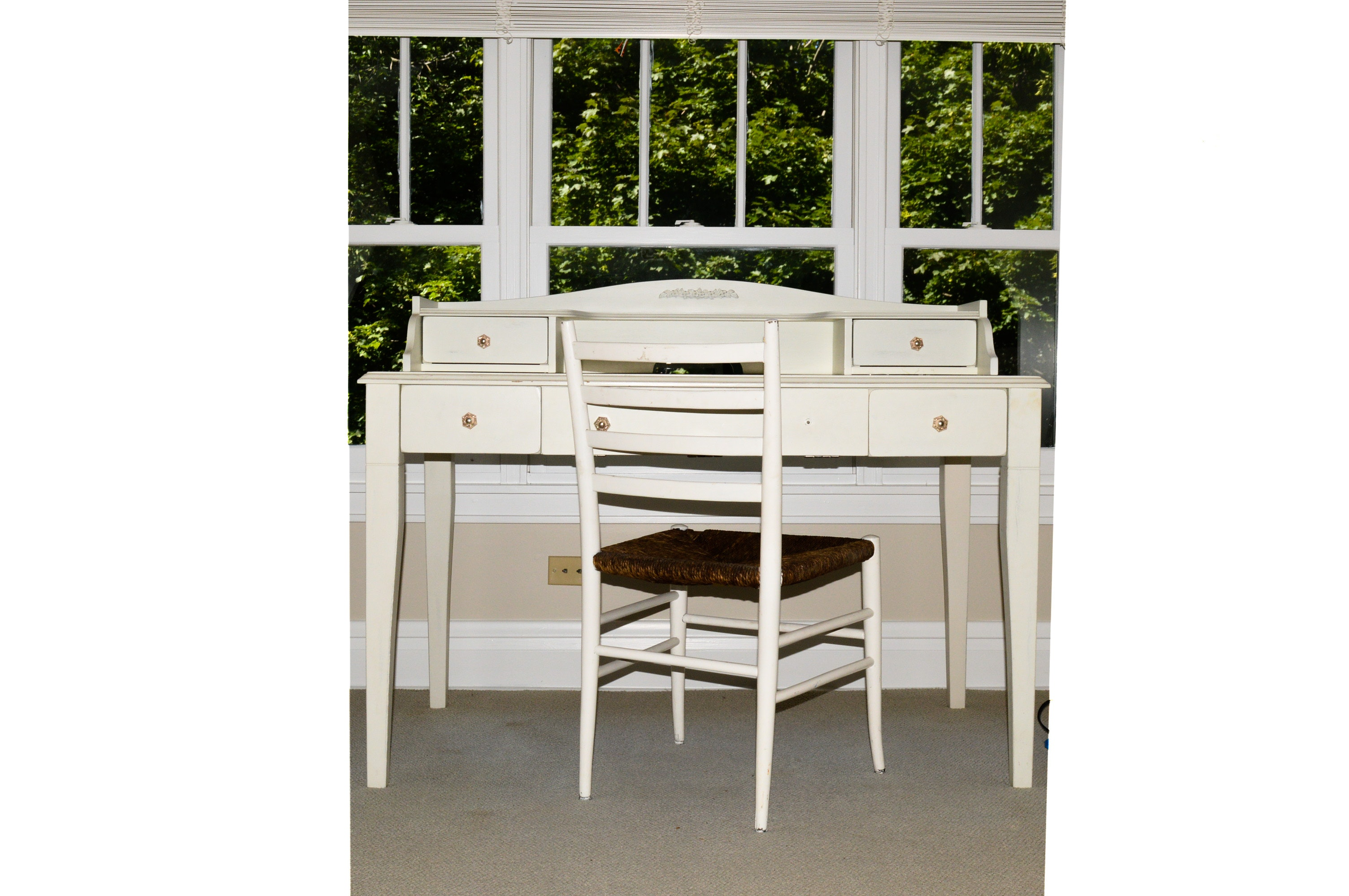 Pottery Barn Kids White-Painted Desk With Chair