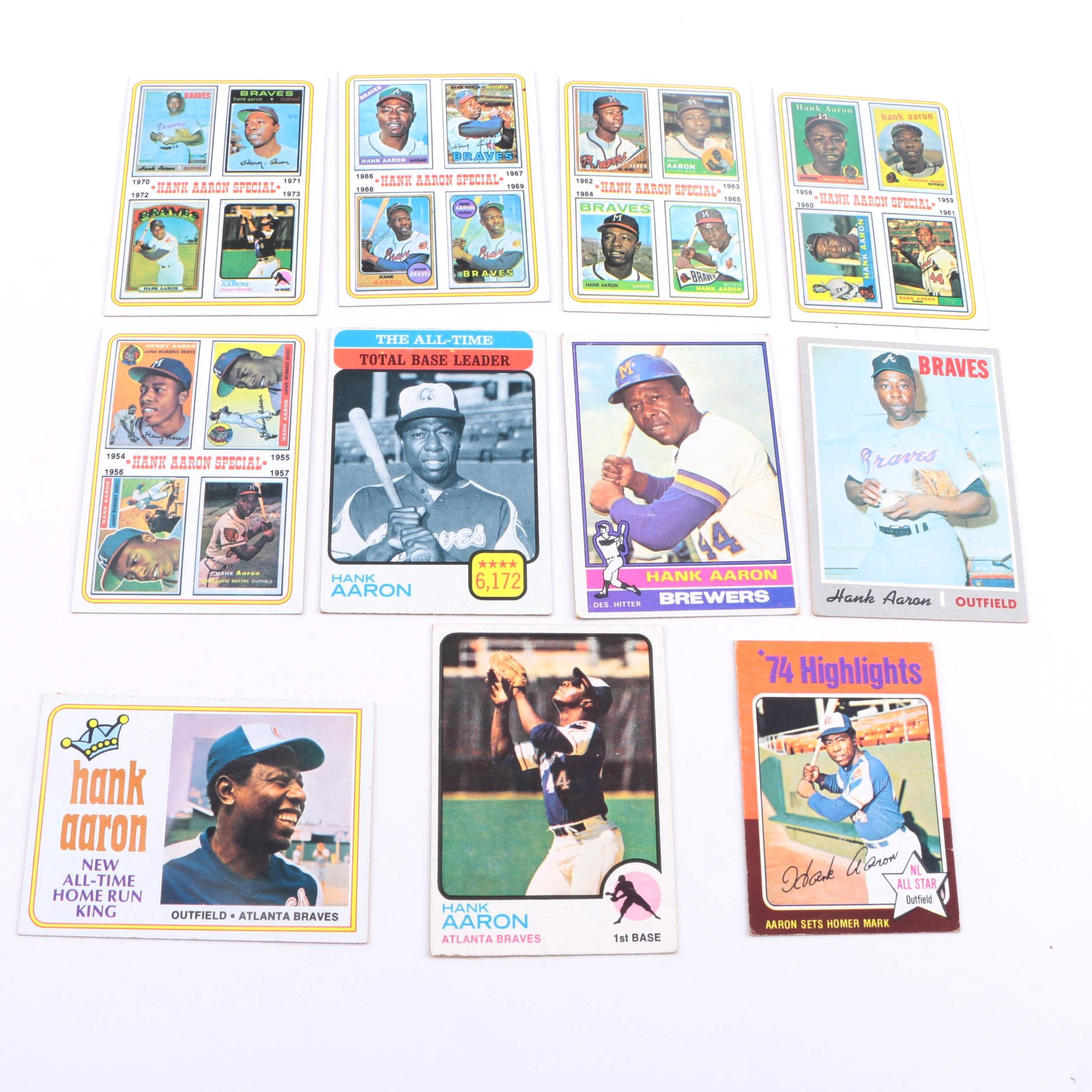 Collection of 1970s Hank Aaron Cards