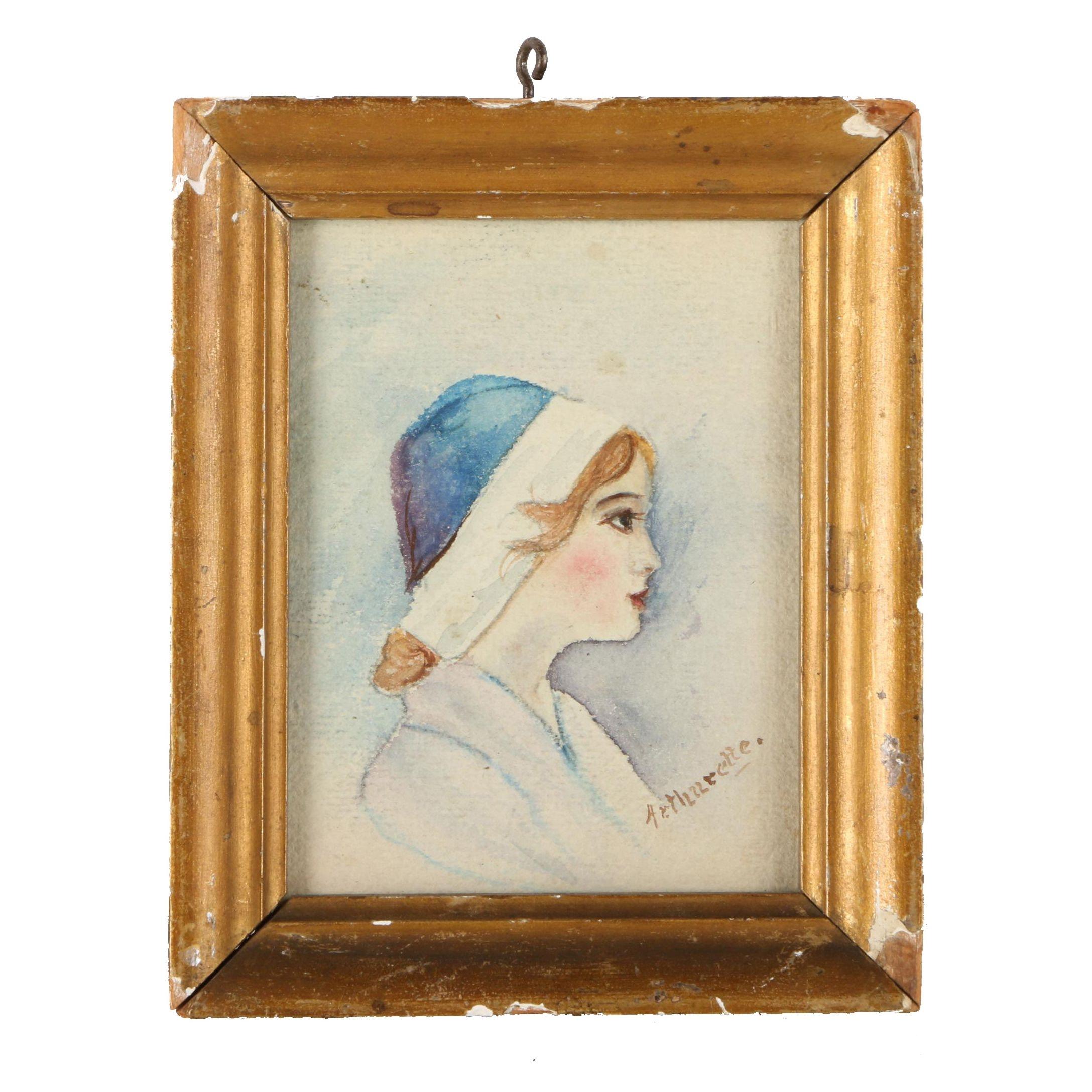 Arthurette Watercolor Portrait of a Young Woman