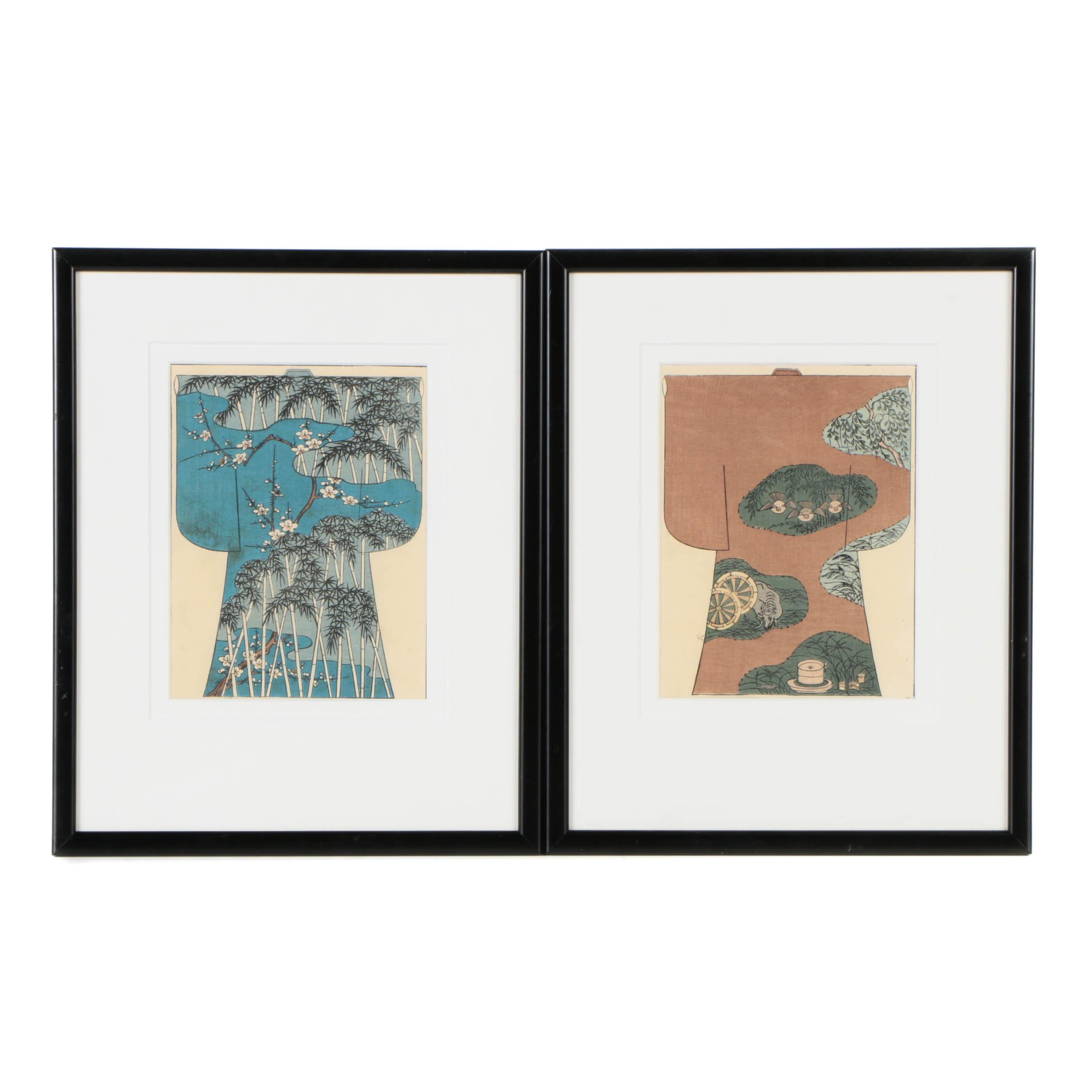 Pair of Japanese Woodblock Prints of Robes