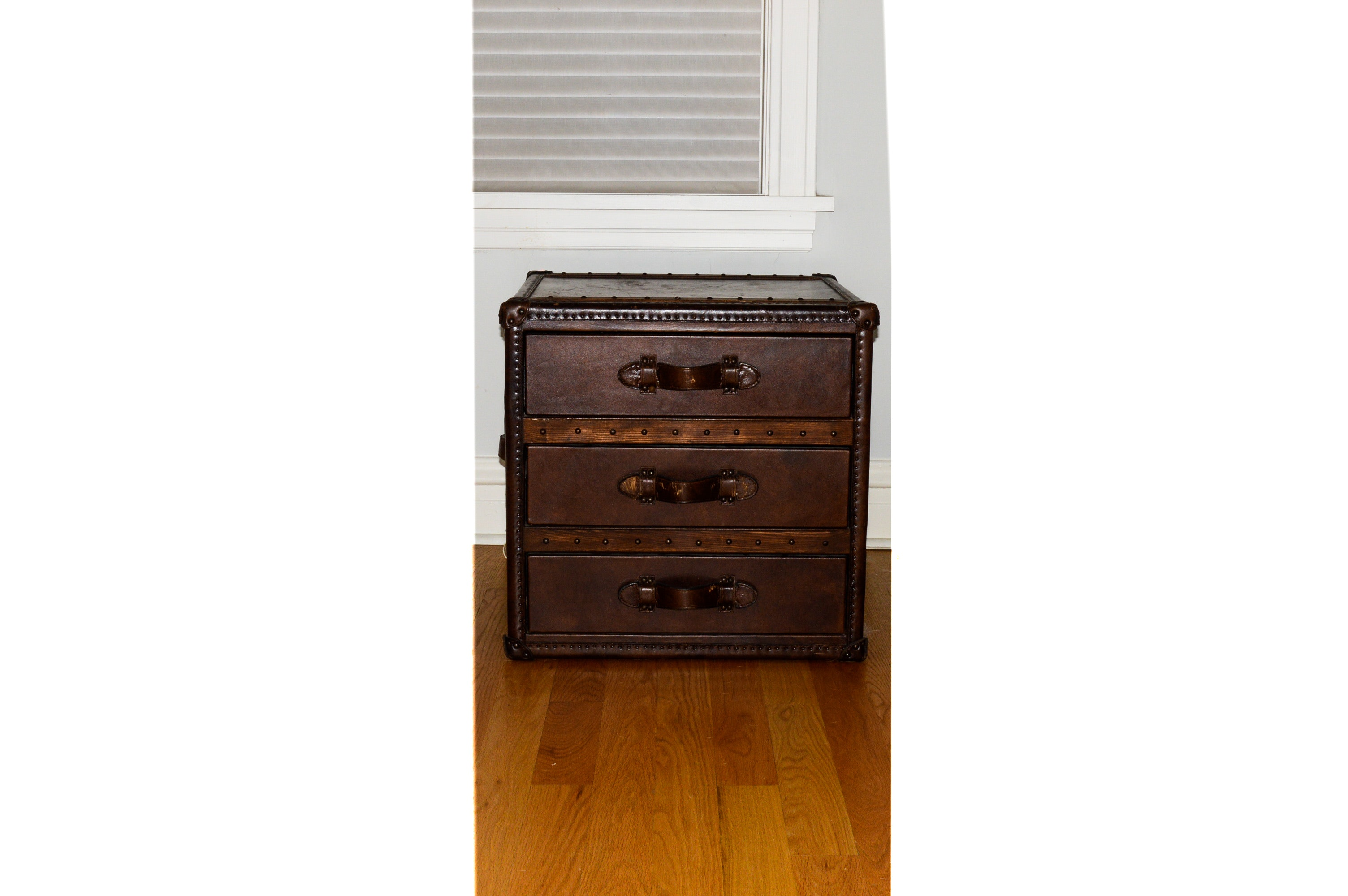 Leather Upholstered Trunk Chest of Drawers