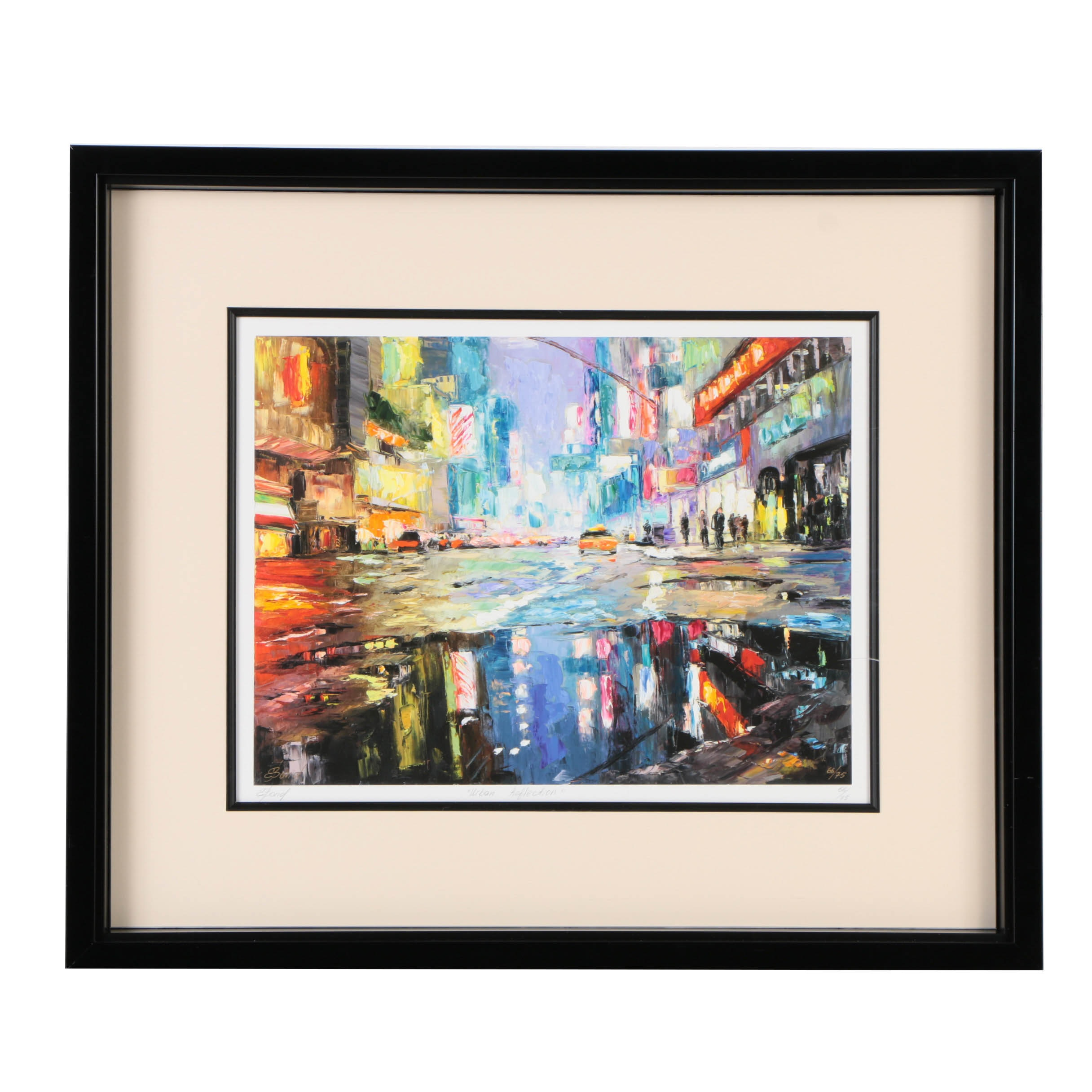 """Elena Bond Signed Limited Edition Offset Lithograph with Hand-Painted Embellishments """"Urban Reflection"""""""