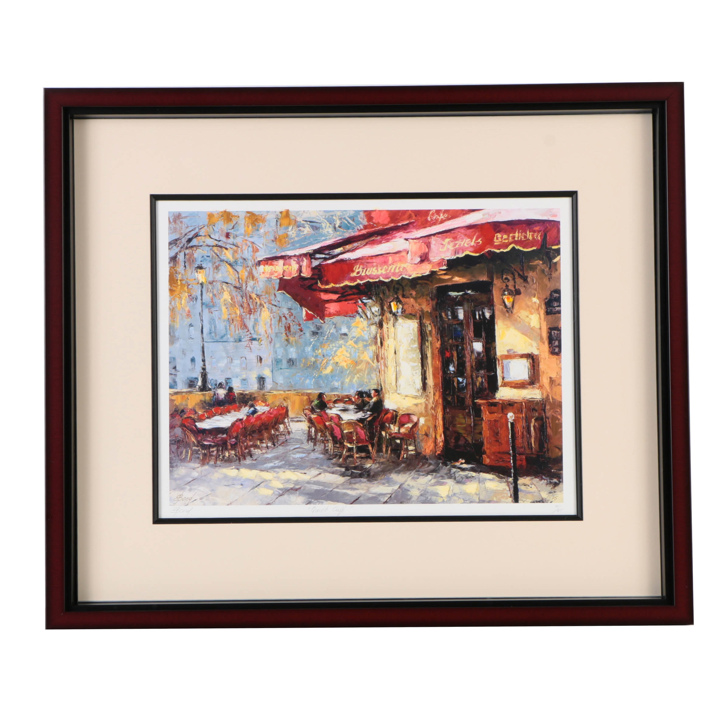 """Elena Bond Signed Limited Edition Offset Lithograph with Hand-Painted Embellishments """"Quiet Cafe"""""""