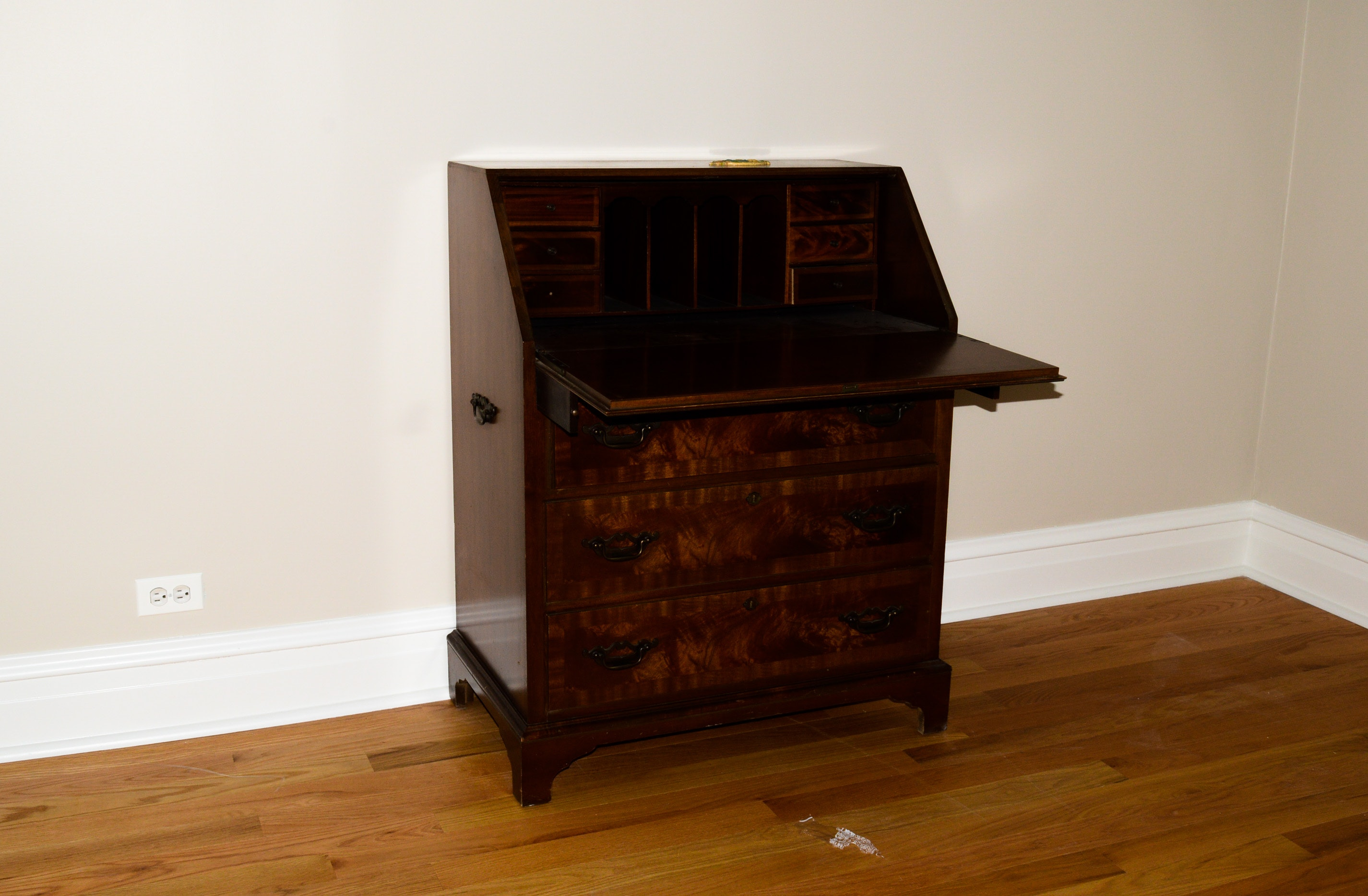 Drop-Front Secretary Desk with Mahogany Finish