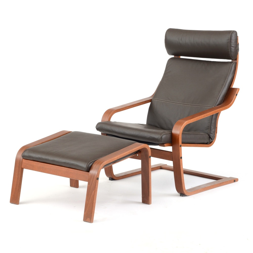 Modernist Armchair with Footstool by IKEA