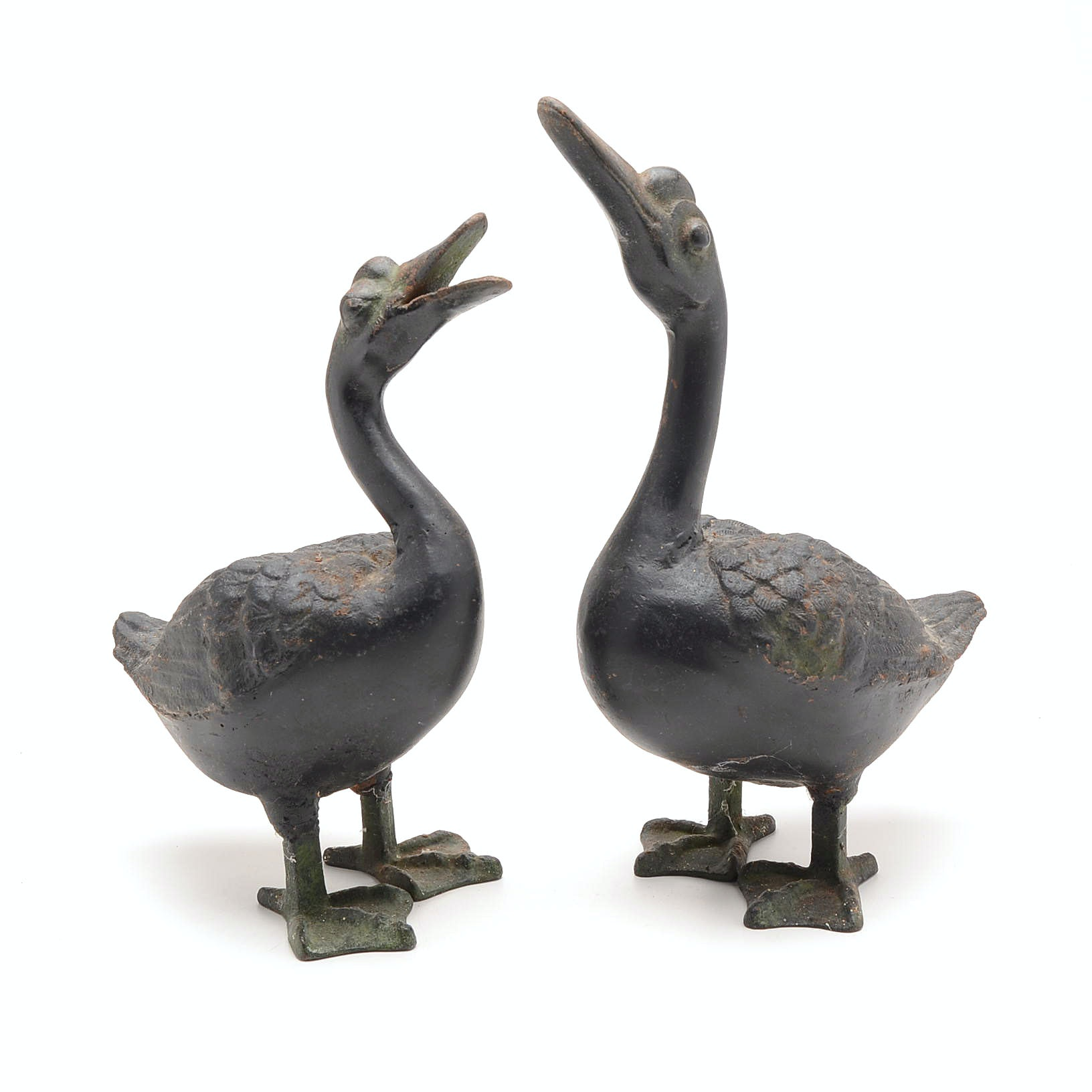 Pair of Cast Iron Duck Sculptures