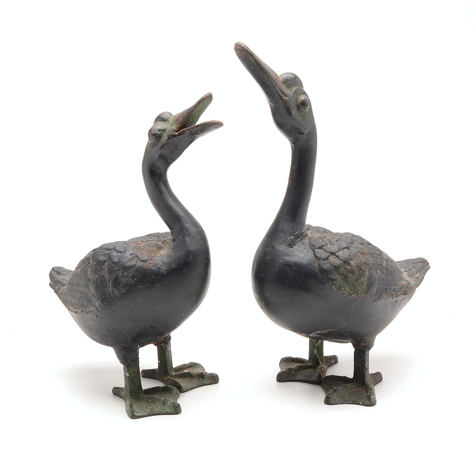 Pair of Cast Iron Duck Sculptures