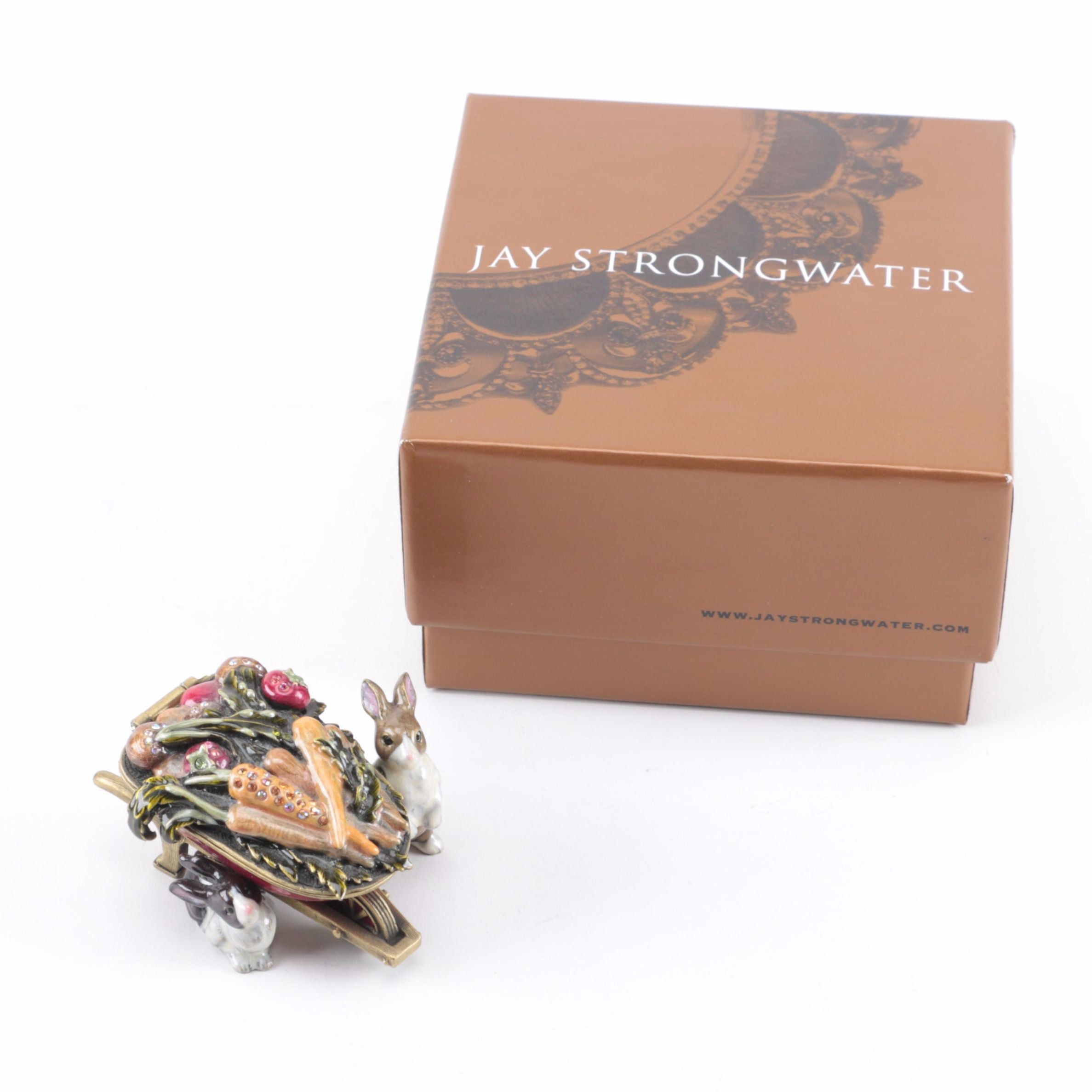 """Jay Strongwater """"Two Rabbits"""" Trinket Box"""