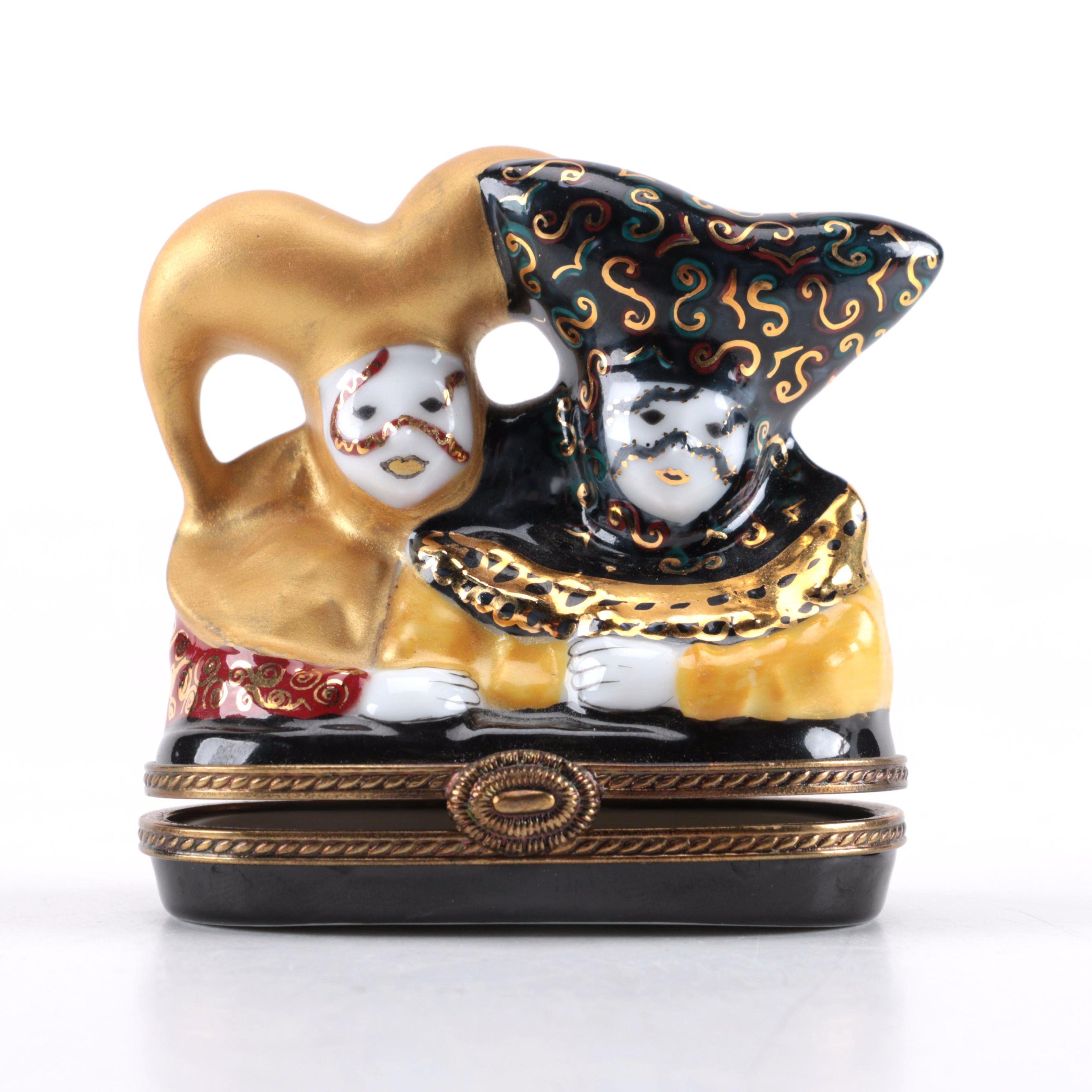 """Rochard Limoges """"Le Carnaval de Venise"""" Porcelain Box"""