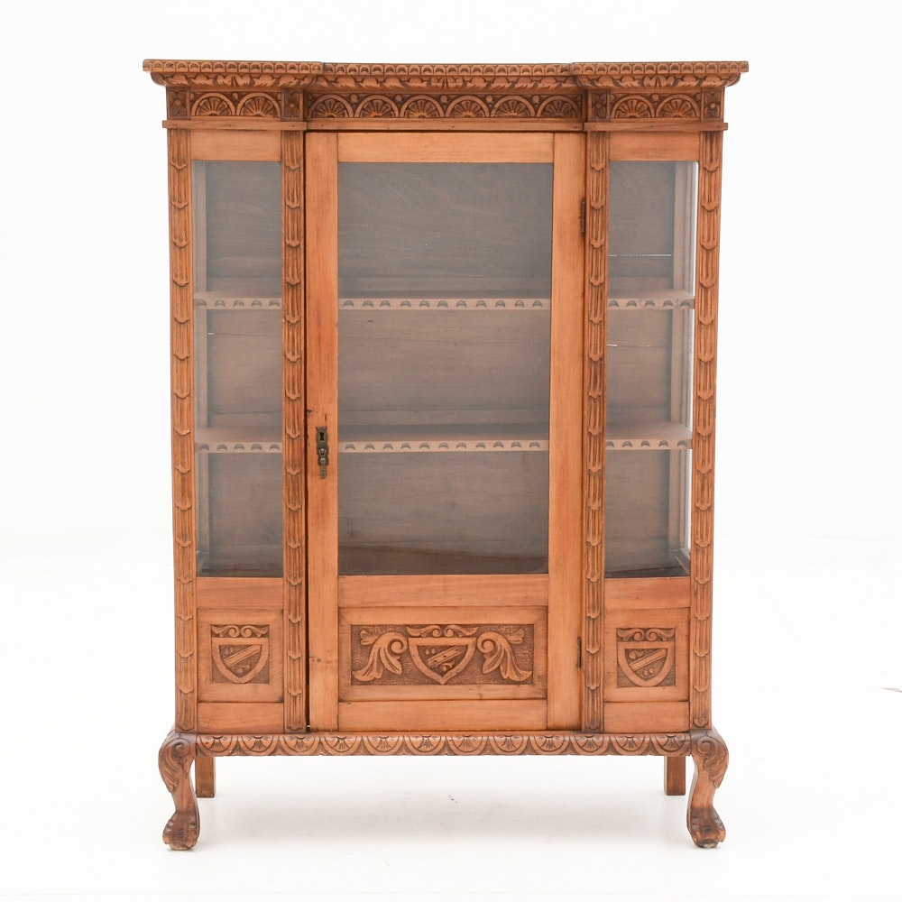Antique Italian Carved China Cabinet