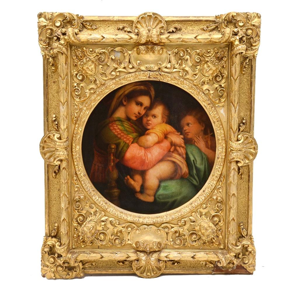 "Antique Oil Painting on Canvas After Raphael's ""Madonna della seggiola"""