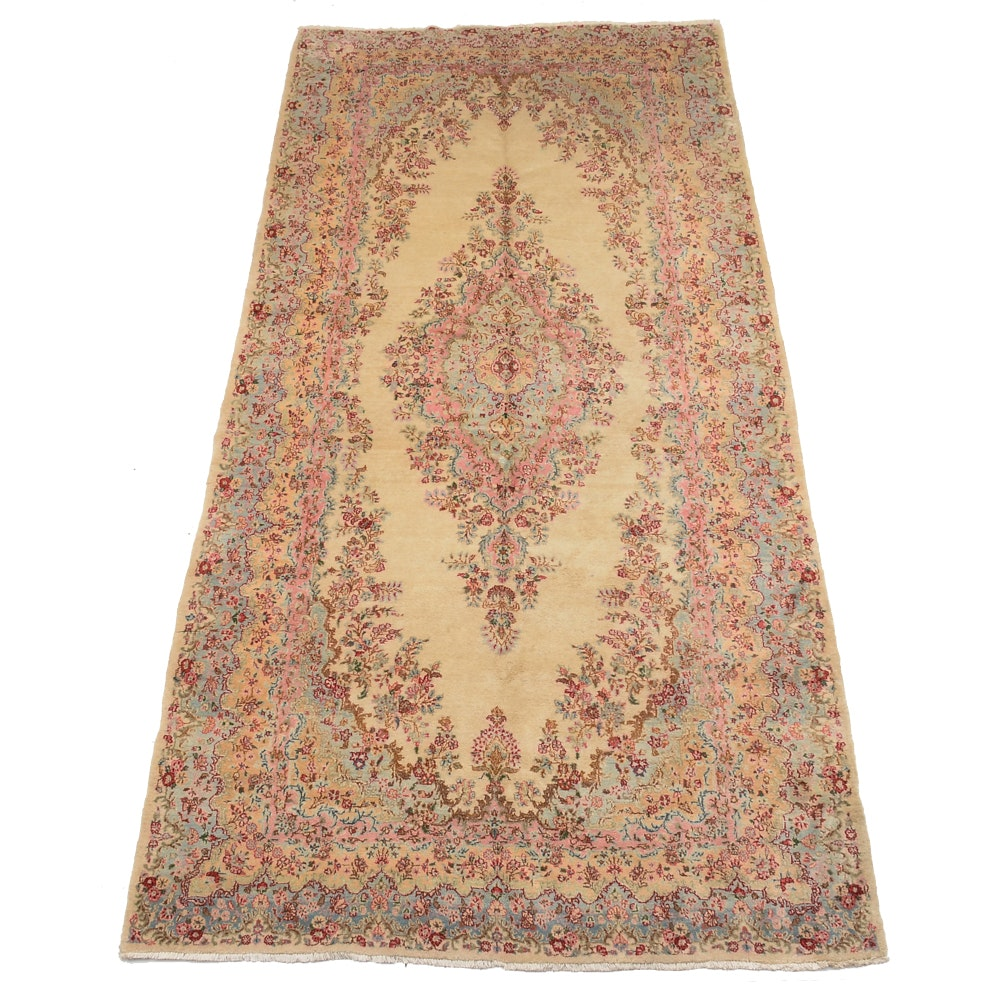 Large Persian Hand-Knotted Kerman Wool Area Rug