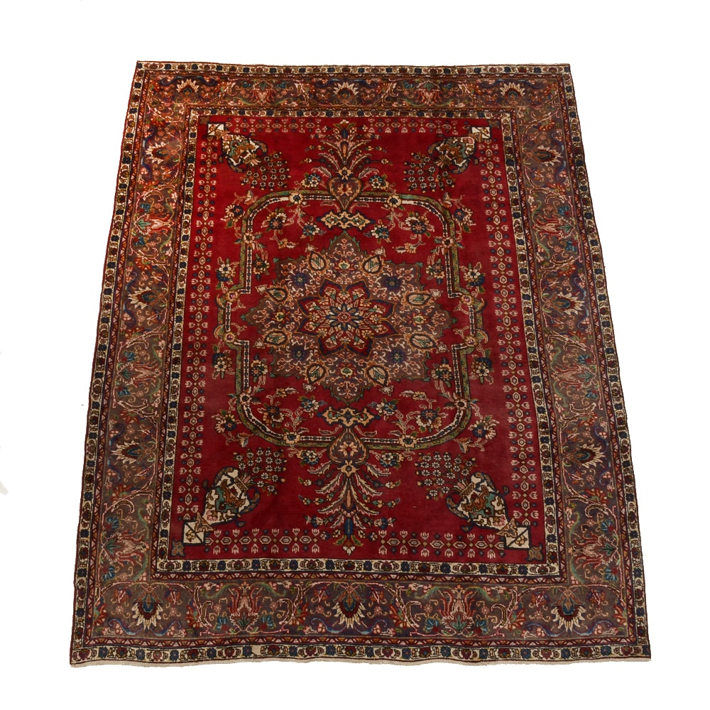 Semi-Antique Persian Hand-Knotted Tabatabe Tabriz Area Rug