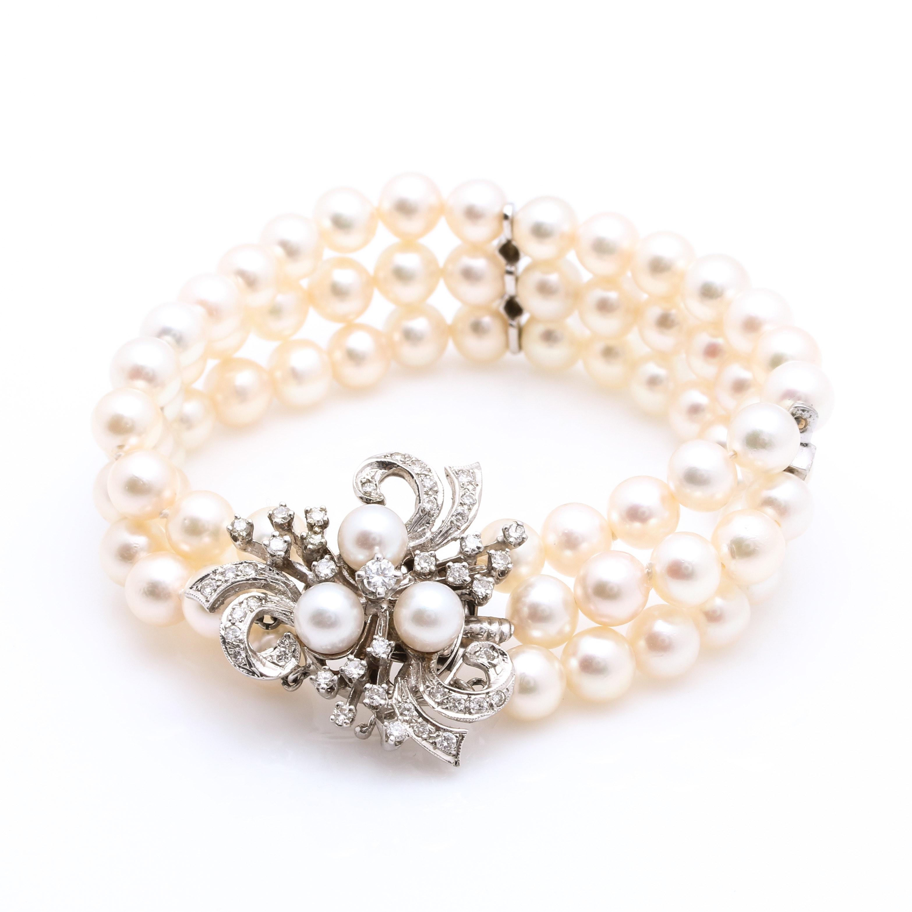 14K White Gold 0.96 CTW Diamond and Pearl Bracelet