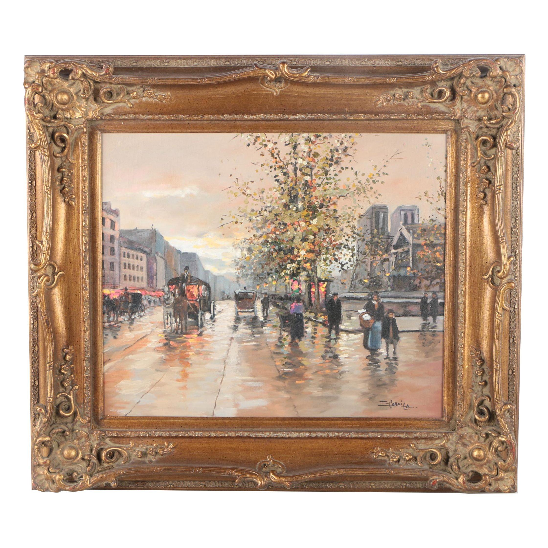 Cohaila Oil Painting on Canvas of a Parisian Street Scene