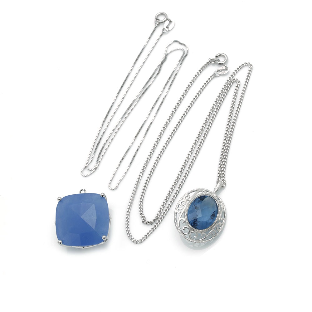 Sterling Silver Necklaces With Gemstone Pendants