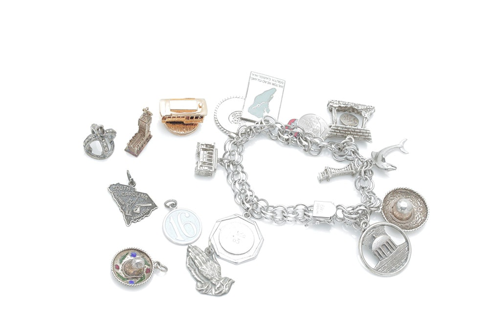 Sterling Silver Charms and Charm Bracelet