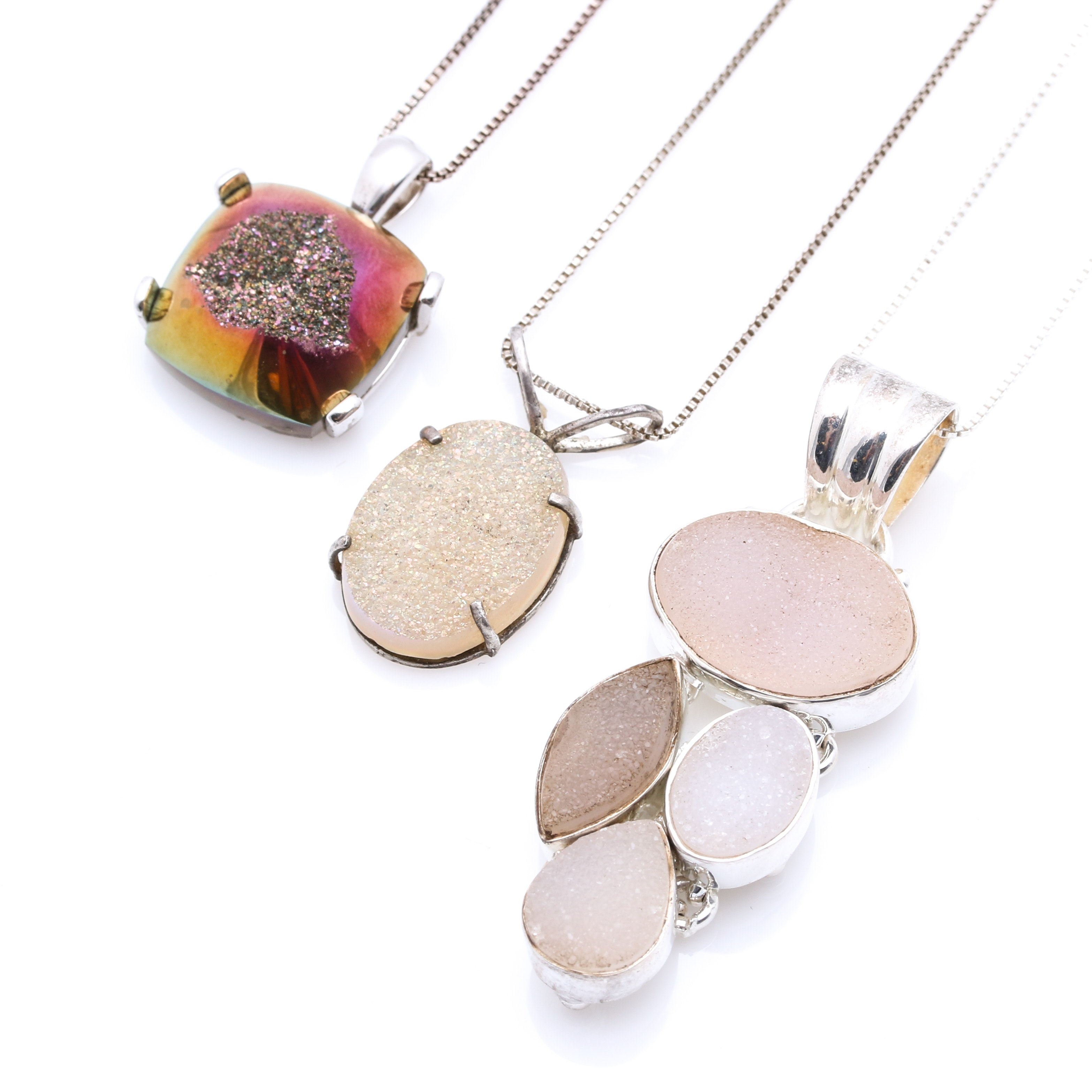 Sterling Silver Necklaces with Coated Druzy Quartz