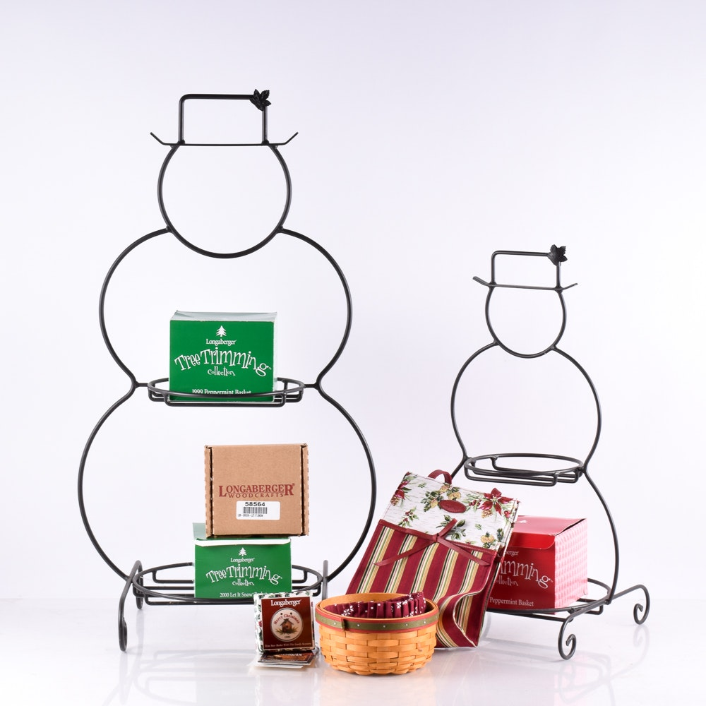 Assortment of Hand Woven Longaberger Baskets and Wrought Iron Snowmen Stands