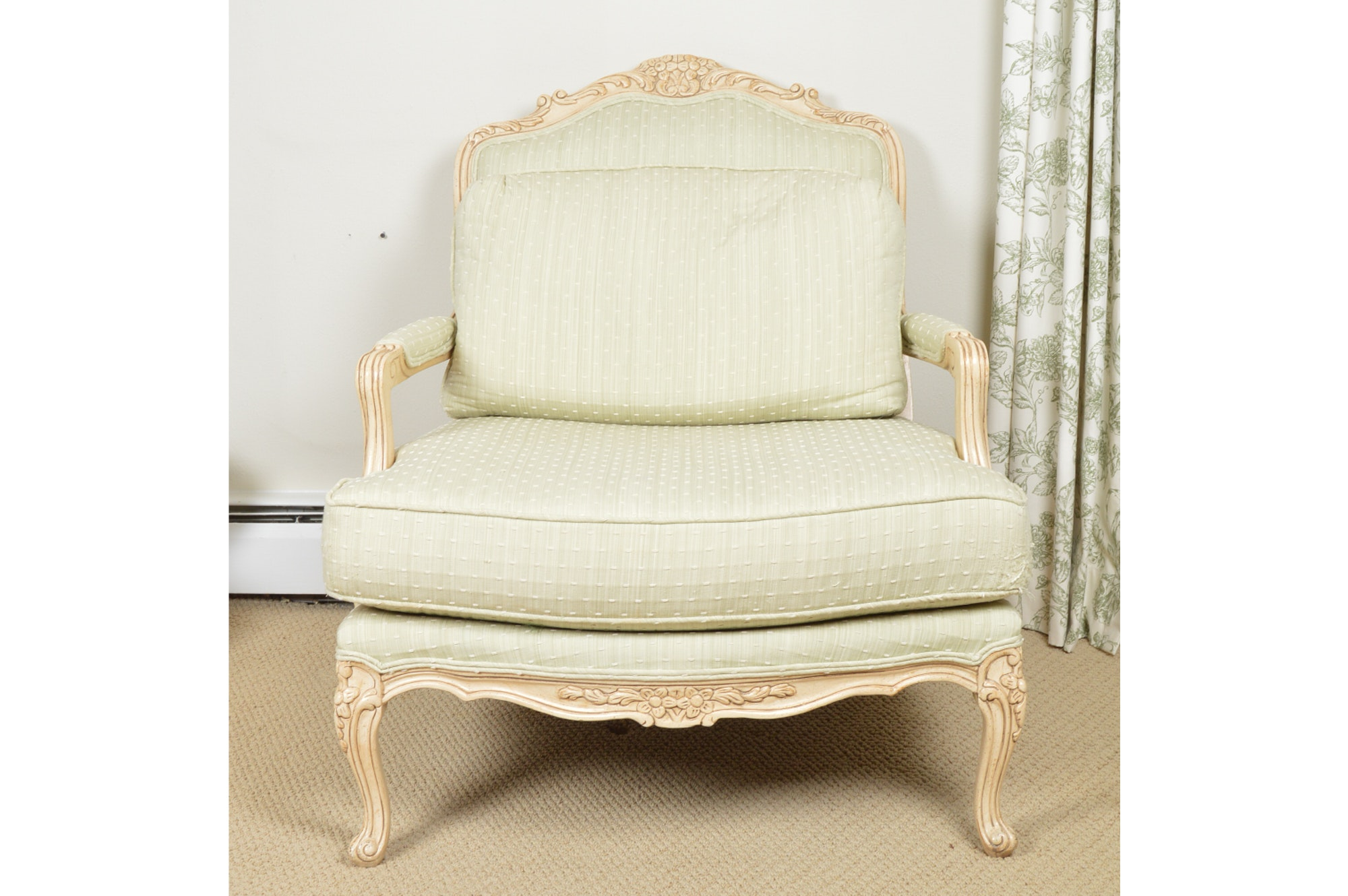A Bergére Armchair Upholstered in Kravet Fabric