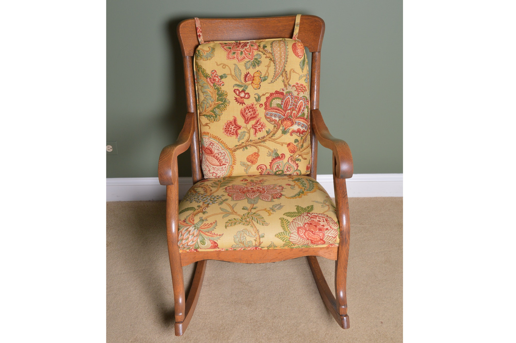 Vintage Oak Regency Style Rocking Chair