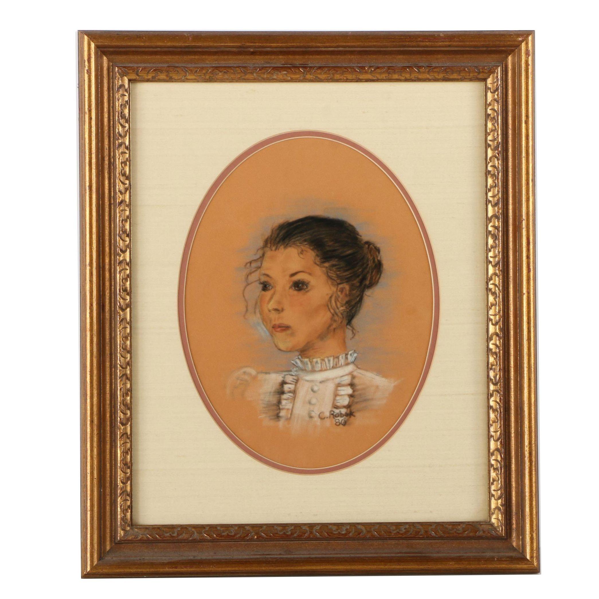 C. Robak Chalk Pastel Drawing of a Woman