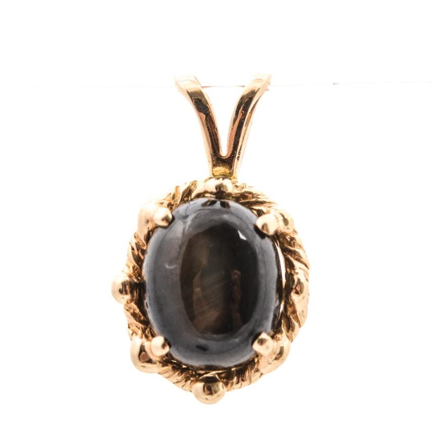 14k yellow gold black star sapphire pendant ebth 14k yellow gold black star sapphire pendant mozeypictures Choice Image
